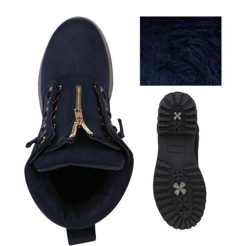 Dunkelblau Boots Stiefeletten Damen Worker Stiefeletten Damen ZWqzcXRO