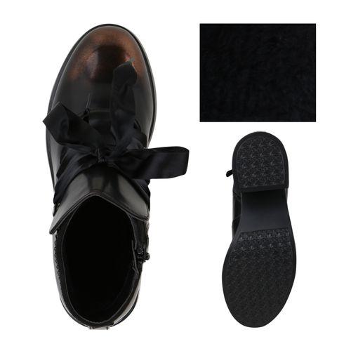 Damen Stiefeletten Plateau Boots - Dunkelbraun