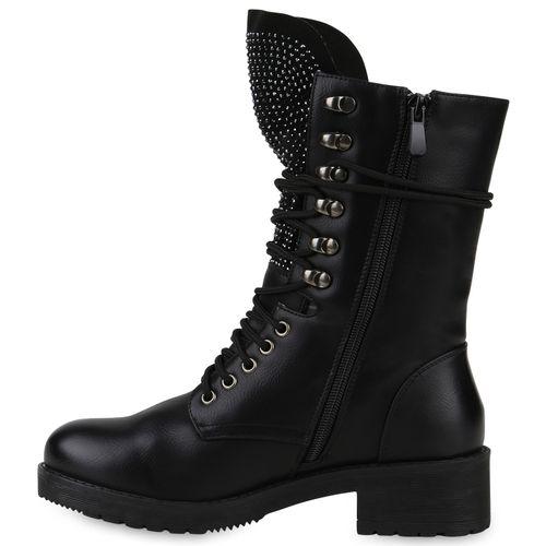 Schwarz Stiefeletten Damen Damen Schnürstiefeletten Stiefeletten H8U6yP