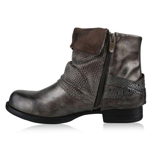 Damen Stiefeletten Biker Boots - Grau Metallic