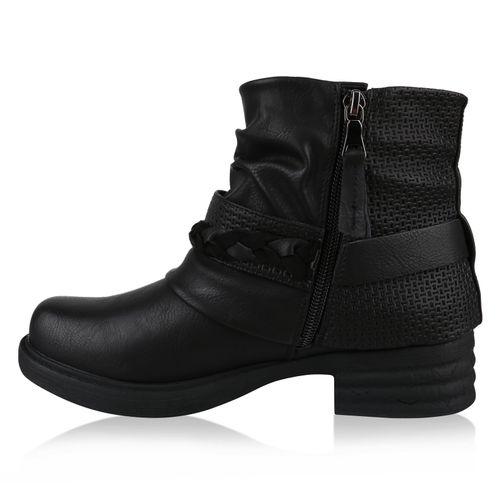 Damen Stiefeletten Biker Boots - Schwarz