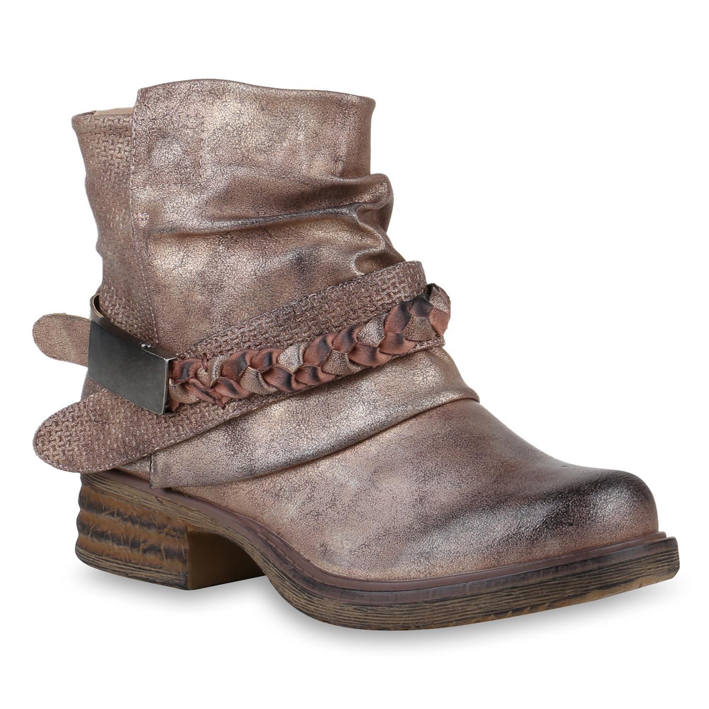 Damen Stiefeletten Biker Boots - Rose Gold