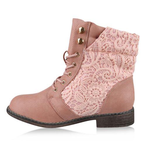 Damen Stiefeletten Schnürstiefeletten - Rosa