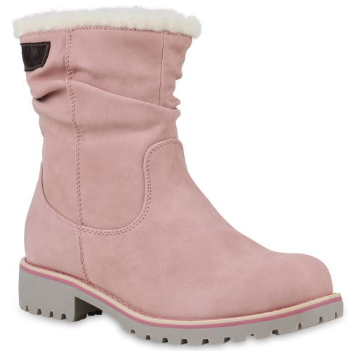 Damen Stiefeletten Winter Boots Rosa