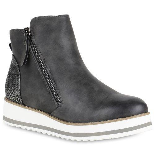 Stiefeletten Damen Boots Plateau Grau Stiefeletten Boots Grau Damen Plateau Grau Damen Boots Stiefeletten Plateau Damen gpCPpwq