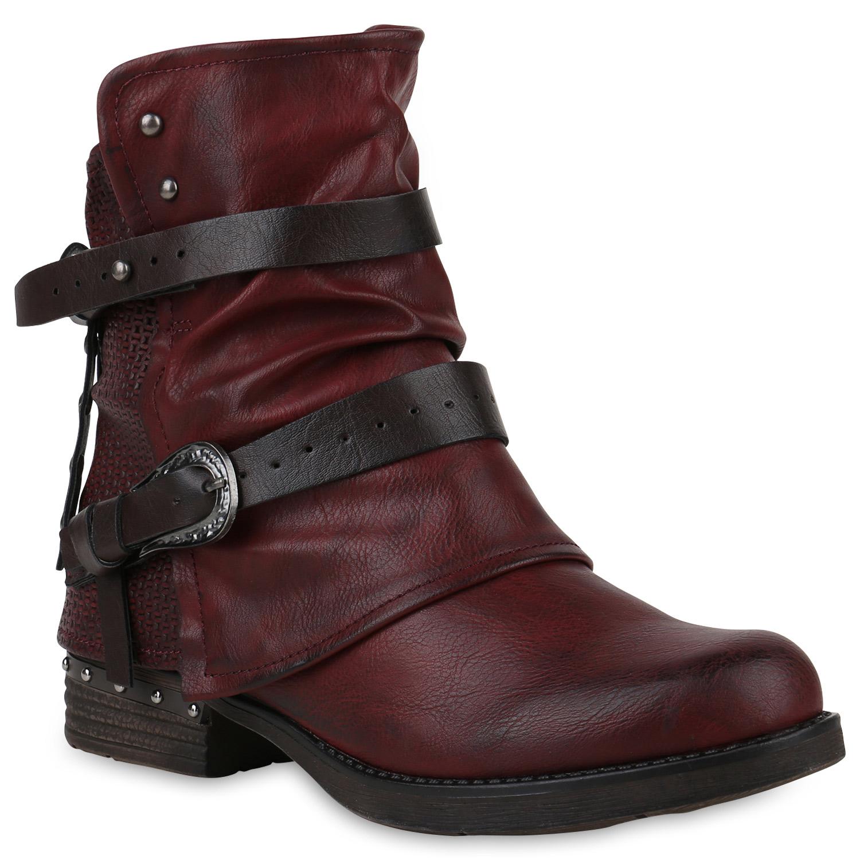 Stiefel - Damen Stiefeletten Biker Boots Dunkelrot › stiefelparadies.de  - Onlineshop Stiefelparadies