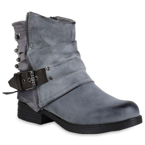Damen Stiefeletten Biker Boots - Grau