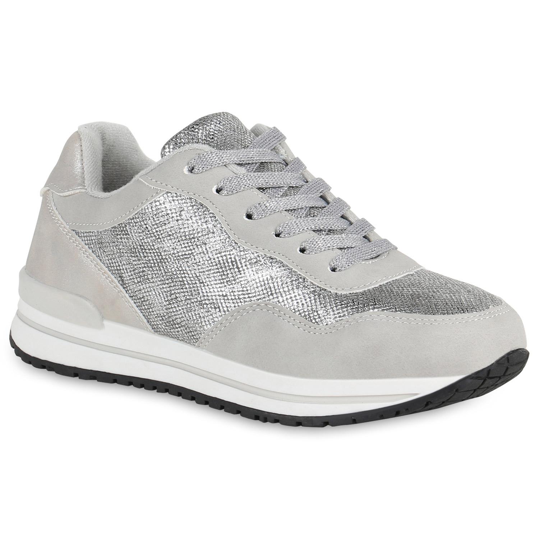 Sportschuhe - Damen Sportschuhe Laufschuhe Silber › stiefelparadies.de  - Onlineshop Stiefelparadies