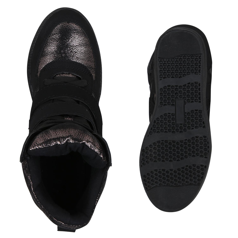 f69a40c2c1a4 Modische Damen Sneaker Wedges Metallic Glitzer Sneakers Keilabsatz ...