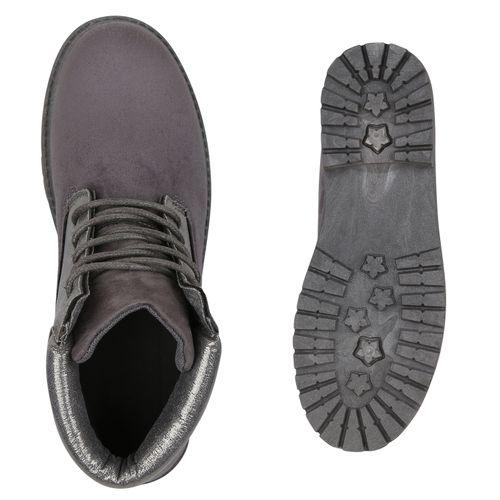 Damen Damen Grau Stiefeletten Worker Damen Grau Boots Stiefeletten Boots Stiefeletten Worker qYgf1w