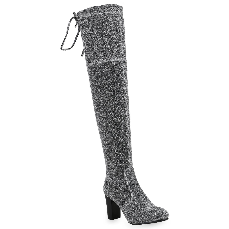 Damen Stiefel Overknees - Silber