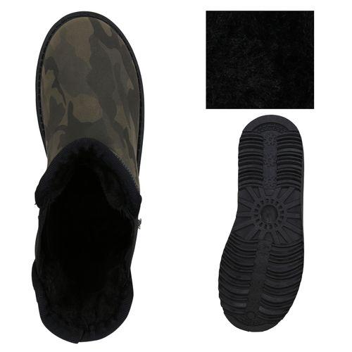 Damen Stiefeletten Schlupfstiefeletten - Camouflage