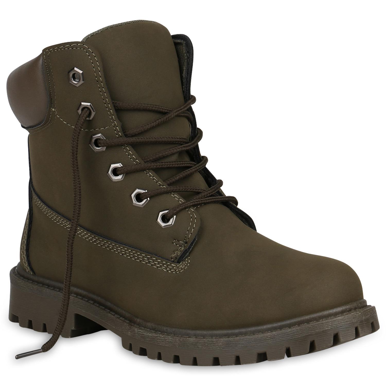 Stiefel - Damen Stiefeletten Worker Boots Dunkelgrün › stiefelparadies.de  - Onlineshop Stiefelparadies