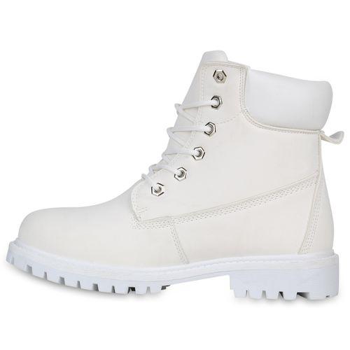 Damen Worker Boots Weiß Damen Worker Stiefeletten Weiß Boots Damen Stiefeletten qxFPAwt
