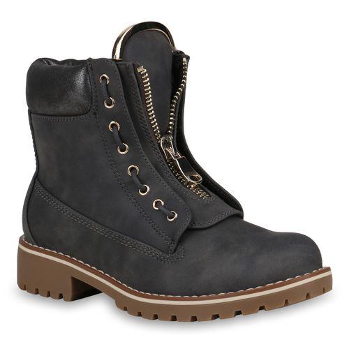 Grau Grau Boots Stiefeletten Worker Damen Worker Damen Boots Damen Stiefeletten RaHAw