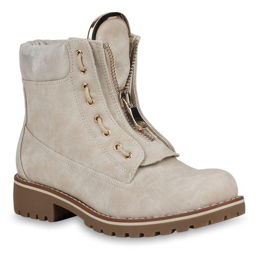 Boots Stiefeletten Damen Boots Worker Worker Stiefeletten Creme Creme Damen Damen qTfC8