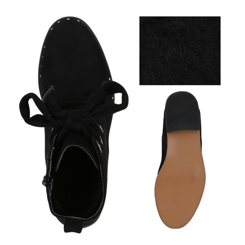 Damen Stiefeletten Schnürstiefeletten - Schwarz