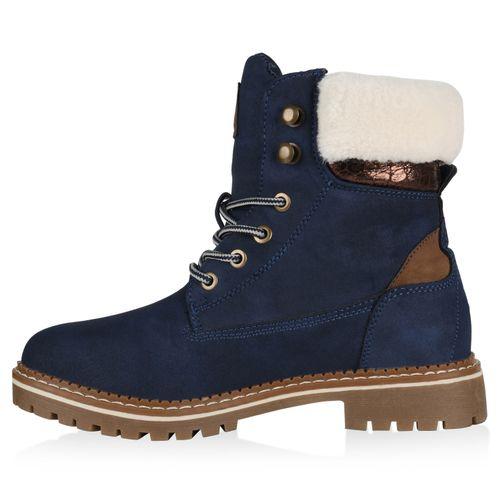 Damen Stiefeletten Worker Boots - Dunkelblau