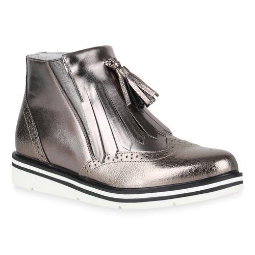 Damen Klassische Stiefeletten Grau Metallic