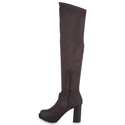 Damen Stiefel Stiefel Overknees Overknees Stiefel Damen Stiefel Grau Grau Overknees Damen Damen Grau WAqPdI