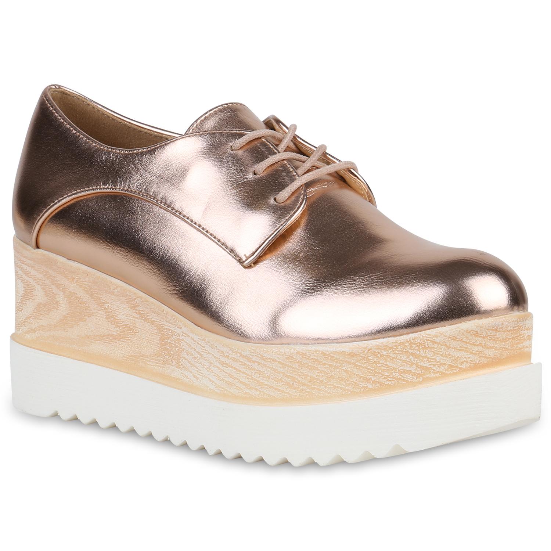 Halbschuhe für Frauen - Damen Halbschuhe Plateauschuhe Rose Gold  - Onlineshop Stiefelparadies