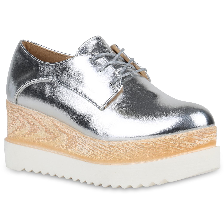 Halbschuhe für Frauen - Damen Halbschuhe Plateauschuhe Silber  - Onlineshop Stiefelparadies