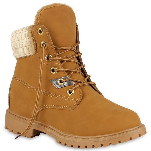 Damen Stiefeletten Damen Boots Hellbraun Stiefeletten Worker Worker qO6P1Twx