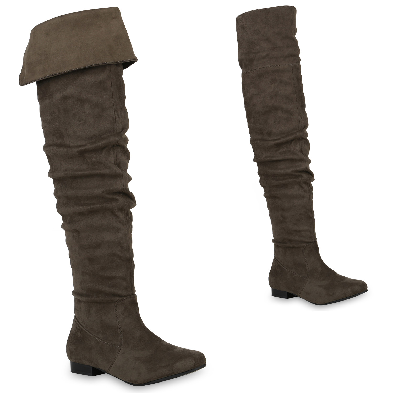 Damen Stiefel Overknees - Dunkelgrün