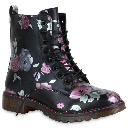Damen Stiefeletten Worker Boots - Schwarz Pink