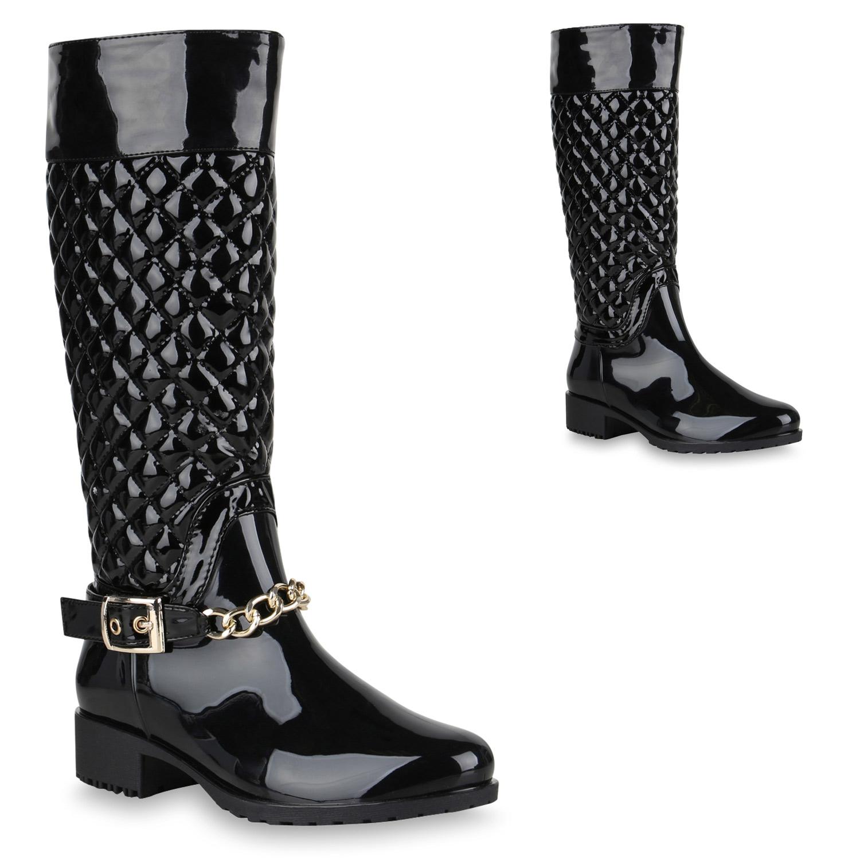 Stiefel für Frauen - Damen Stiefel Gummistiefel Schwarz  - Onlineshop Stiefelparadies