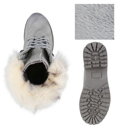 Damen Stiefeletten Schnürstiefeletten - Grau
