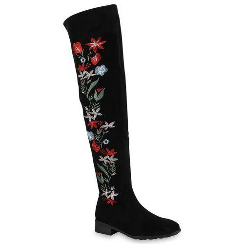 Damen Stiefel Overknees - Schwarz Rot