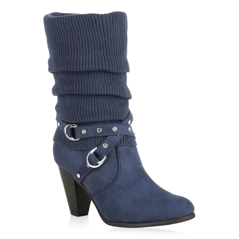 9ad5cdb19610 Stiefel für Frauen - Damen Klassische Stiefel Dunkelblau - Onlineshop  Stiefelparadies
