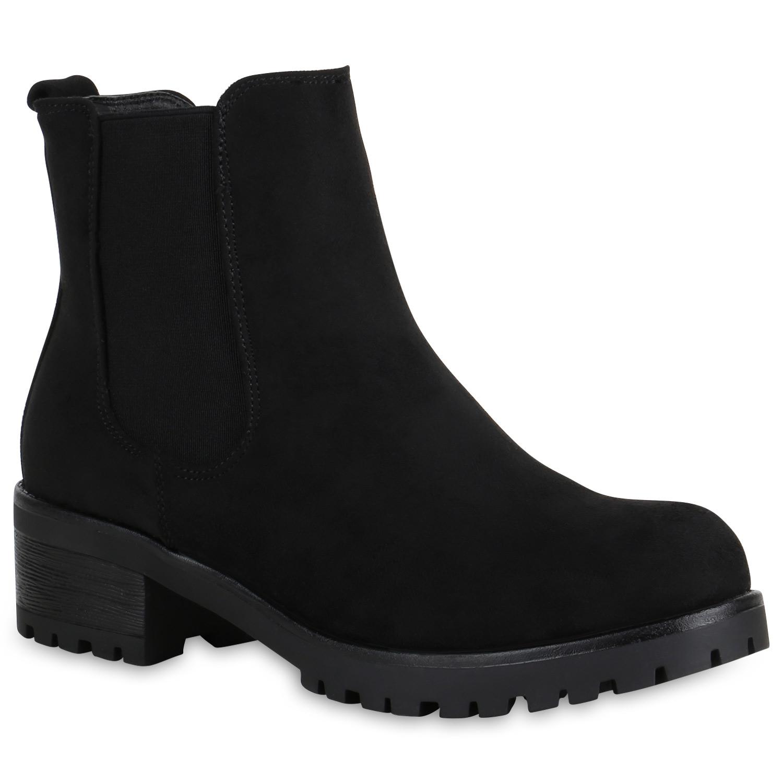 Stiefel für Frauen - Damen Stiefeletten Chelsea Boots Schwarz › stiefelpardies.de  - Onlineshop Stiefelparadies