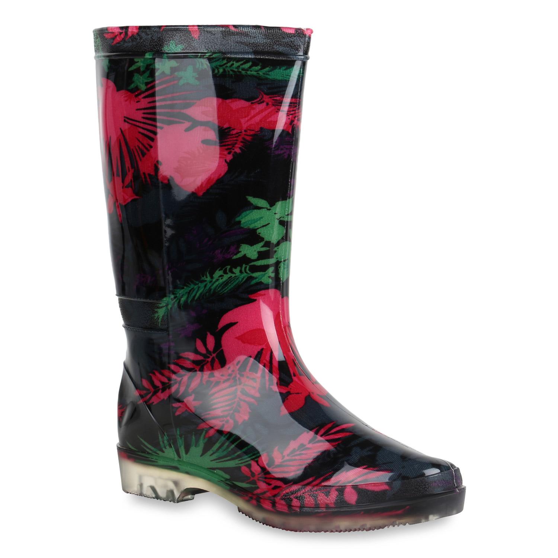Damen Stiefel Gummistiefel - Schwarz Pink Grün