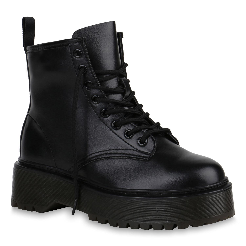 Schwarz Damen Stiefeletten Stiefeletten Plateau Boots Damen 4Rc3jqSL5A