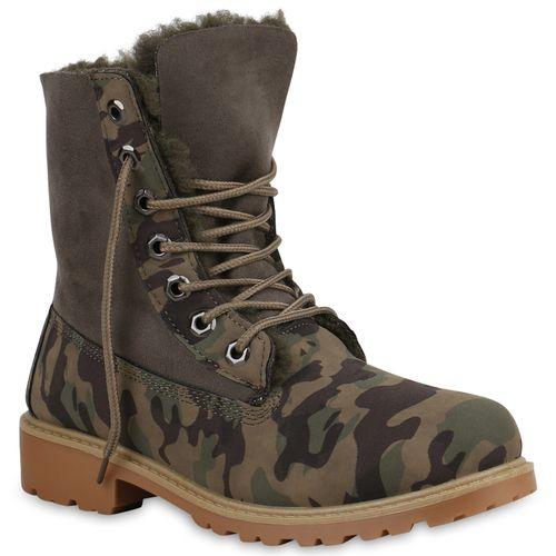 Damen Stiefeletten Worker Boots - Grün Camouflage