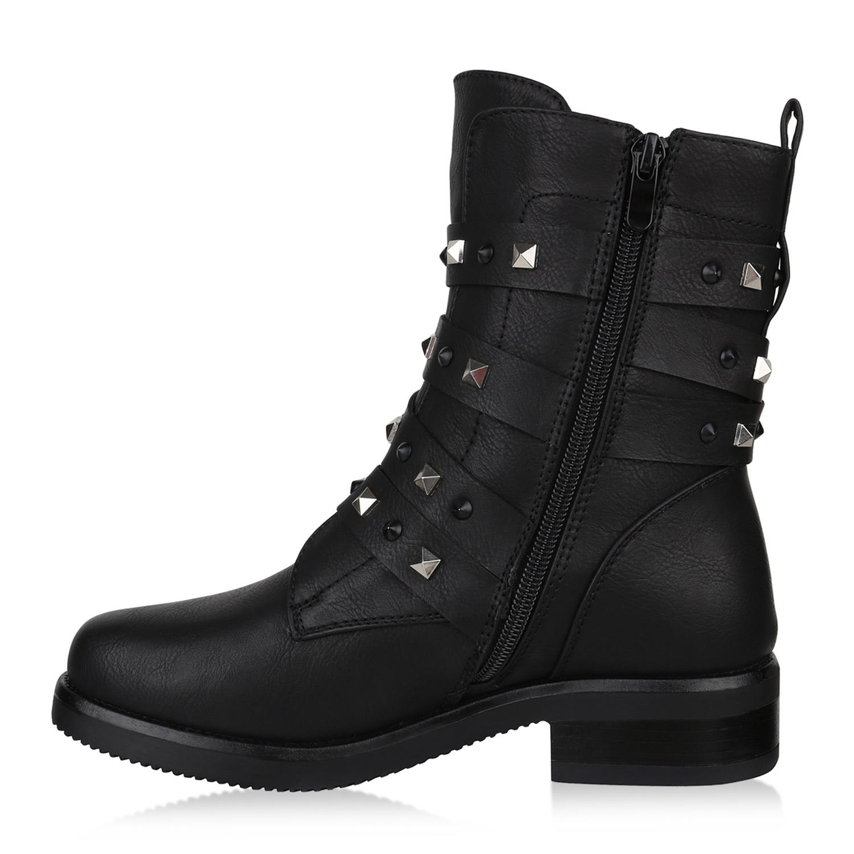 Damen Stiefeletten Biker Boots Warm Gefütterte Stiefel Nieten 820056 Trendy Neu