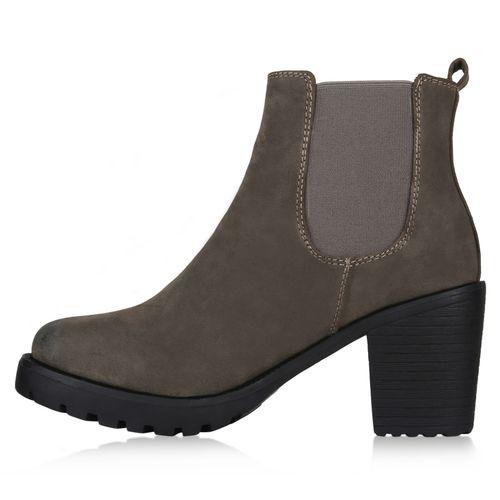 Damen Stiefeletten Chelsea Boots - Khaki Grün