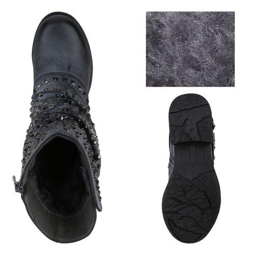 Damen Stiefeletten Biker Boots - Grau Blau