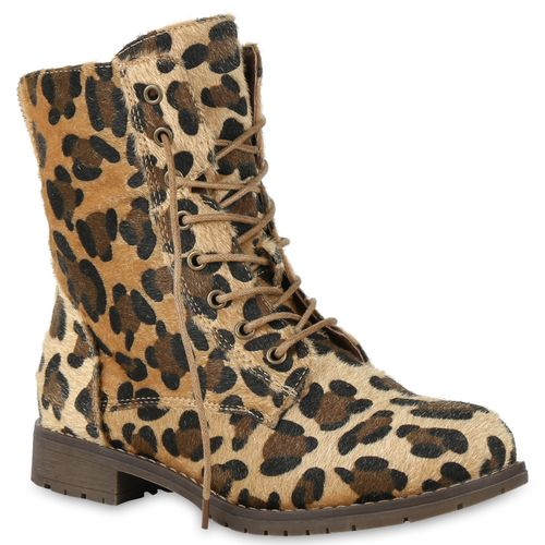 Damen Stiefeletten Schnürstiefeletten - Leopard