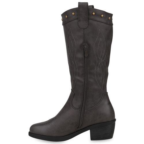 Damen Stiefel Cowboystiefel - Grau