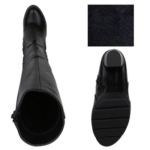Damen Damen Stiefel Stiefel Plateaustiefel Schwarz 08Z8qx
