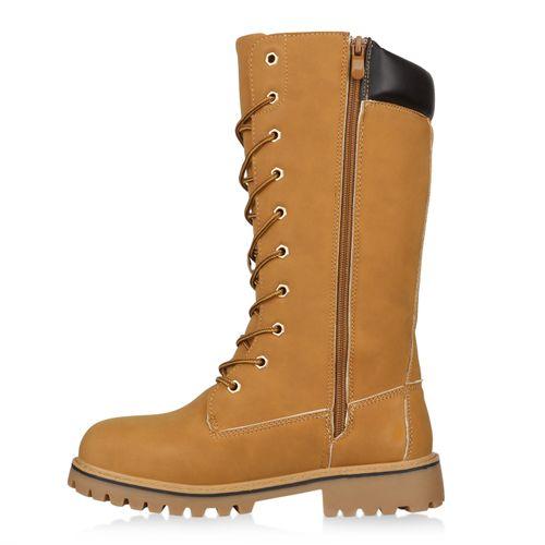 Damen Stiefel Worker Boots - Hellbraun
