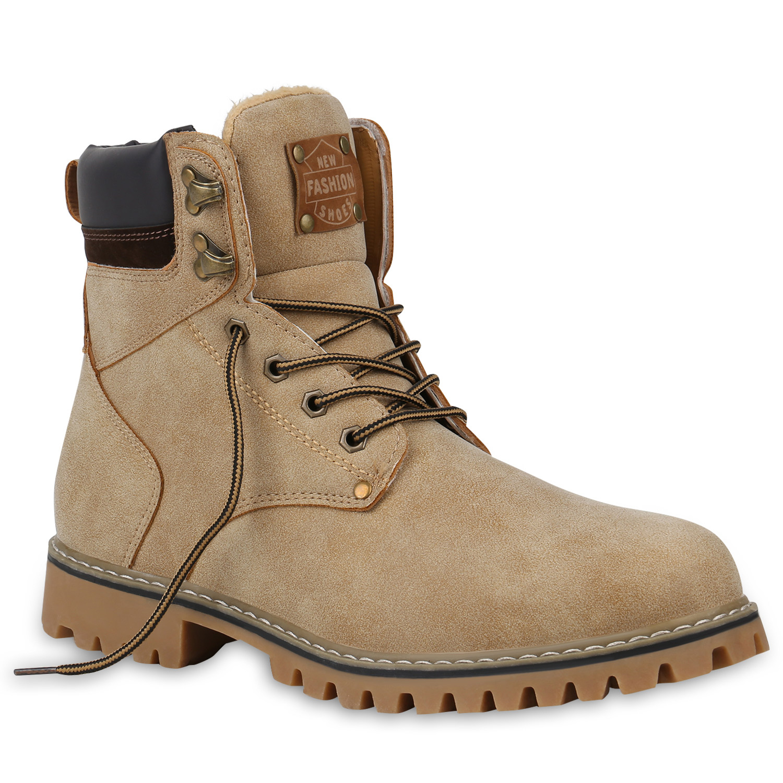 Herren Boots Worker Boots - Creme