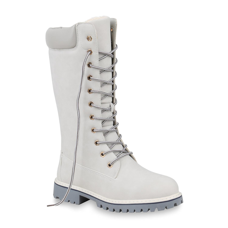 Damen Stiefel Worker Boots - Hellgrau