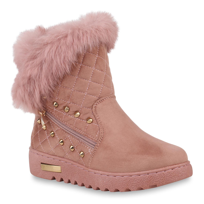 Stiefel für Frauen - Damen Stiefeletten Winter Boots Rosa › stiefelpardies.de  - Onlineshop Stiefelparadies