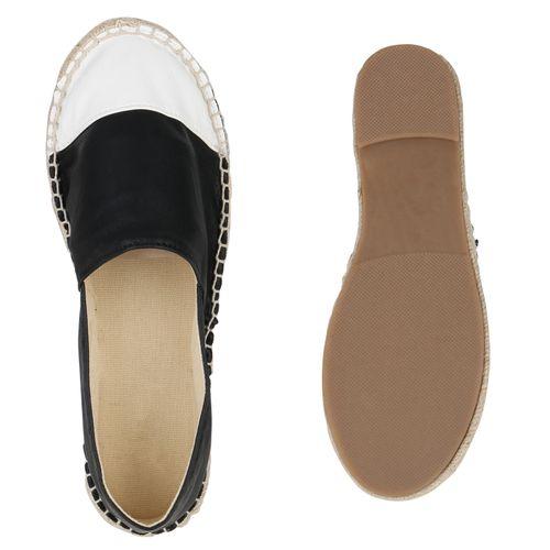 Damen Slippers Espadrilles - Weiß Schwarz