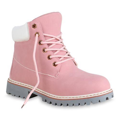 Damen Worker Worker Stiefeletten Damen Stiefeletten Boots Rosa P7qwpE