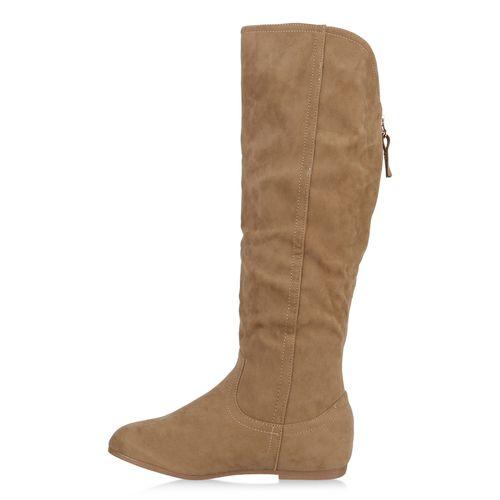 Damen Stiefel Keilstiefel - Khaki
